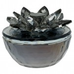 Crystal Jewelry box grey w/flower
