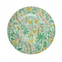 Round Melamine Side Plate - Green - Lupin Print