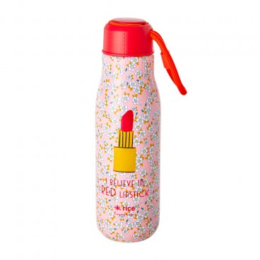 """Edelstahl Thermosflasche - Small Flower and """"I believe in Lipstick"""""""