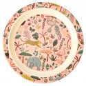 Melamine Kids Lunch Plate - Coral - Jungle Animals Print