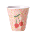 Medium Melamine Cup - Small Flowers and Cherry Print
