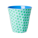 Medium Melamine Cup - Green and Turquoise Star