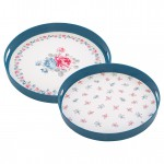 Tray Hailey white round set of 2